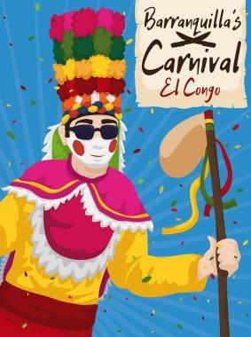Congo Dancer under Confetti Shower in the Barranquilla's Carnival, Vector Illustration