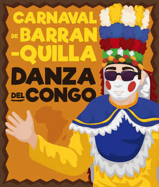 Design Promoting African Influence in Congo's Dance in Barranquilla's Carnival, Vector Illustration