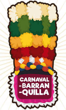 Traditional Congo's Dancer Hat with Tail for Barranquilla's Carnival, Vector Illustration