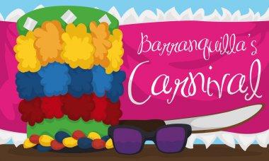 Congo's hat, Sunglasses, Machete and Fabric Ready for Barranquilla's Carnival, Vector Illustration