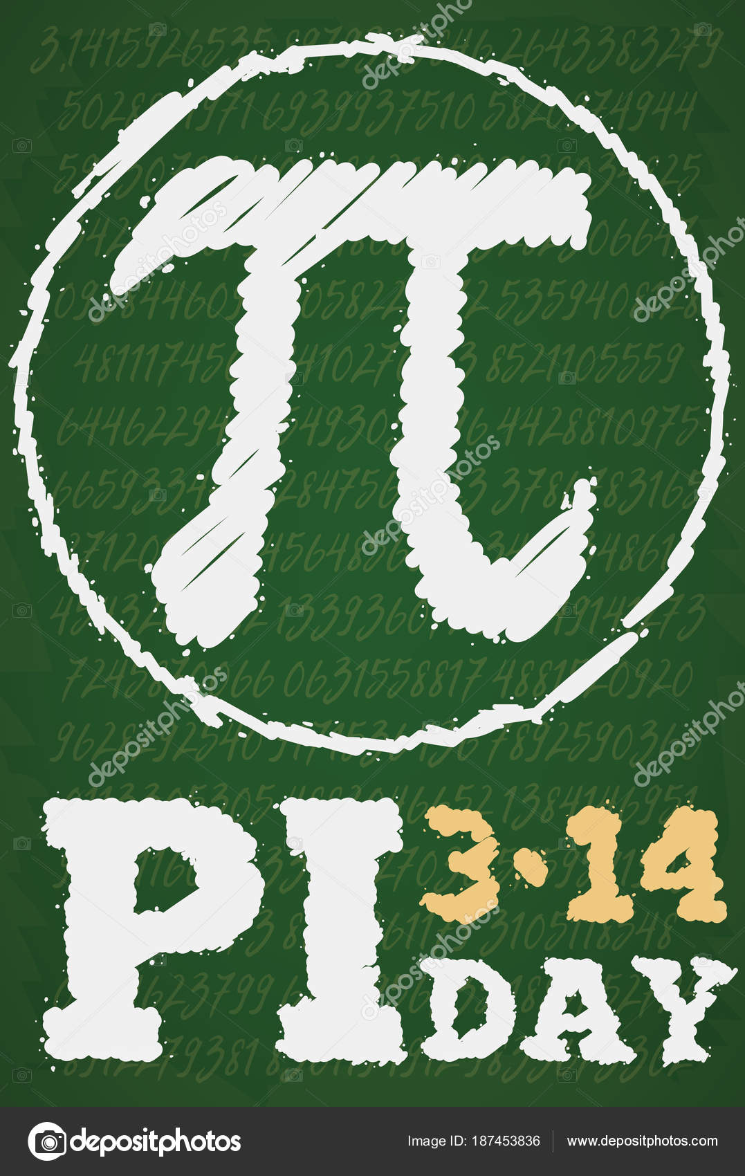 Chalkboard Drawing With Pi Series And Symbol For Pi Day Vector
