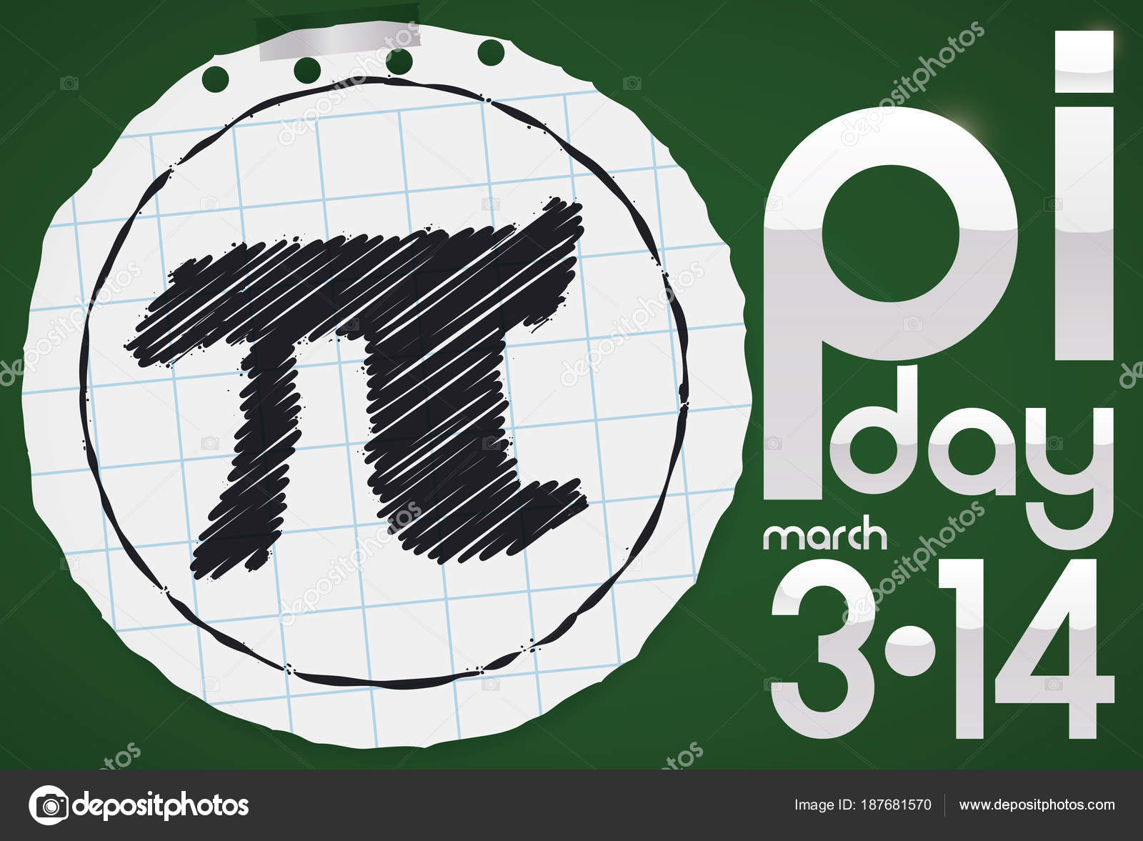 Round Notebook Paper With Pi Symbol For Pi Day Celebration Vector