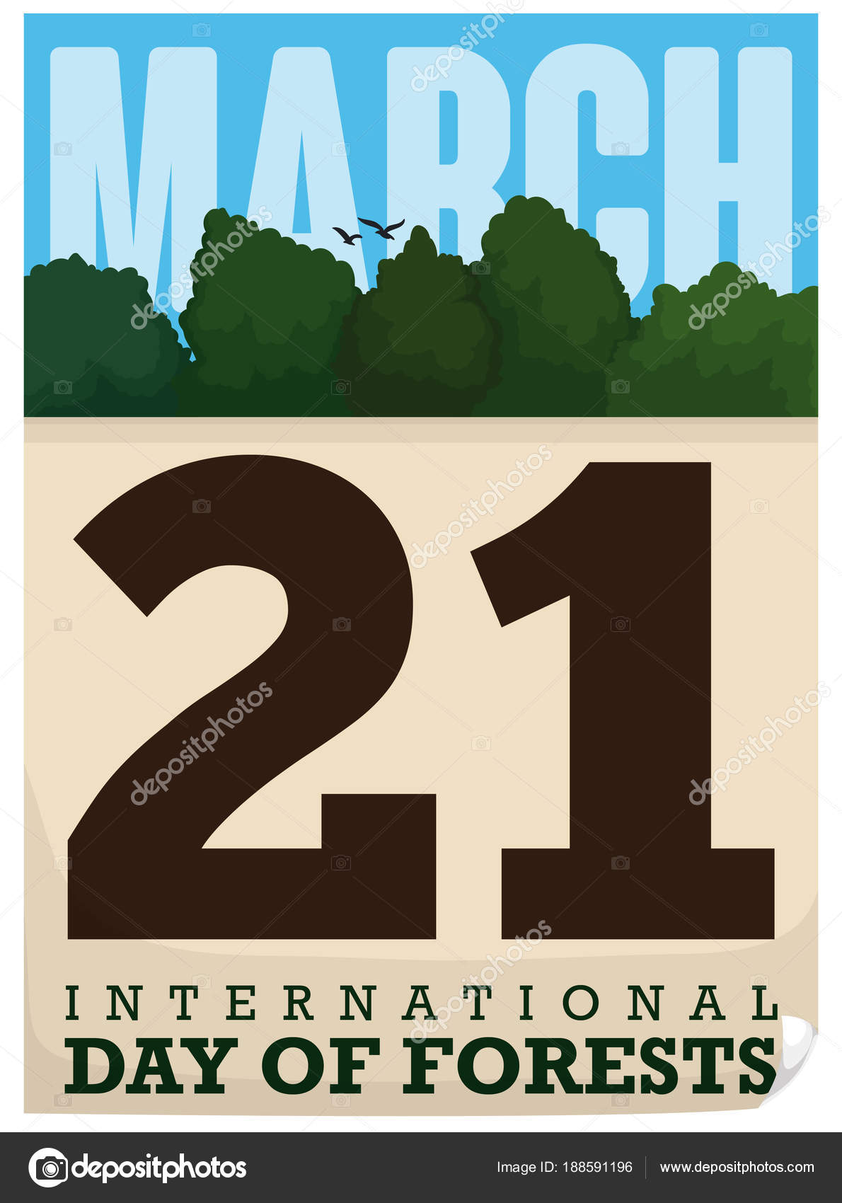 Loose Leaf Calendar With Forest View For International Forests Day