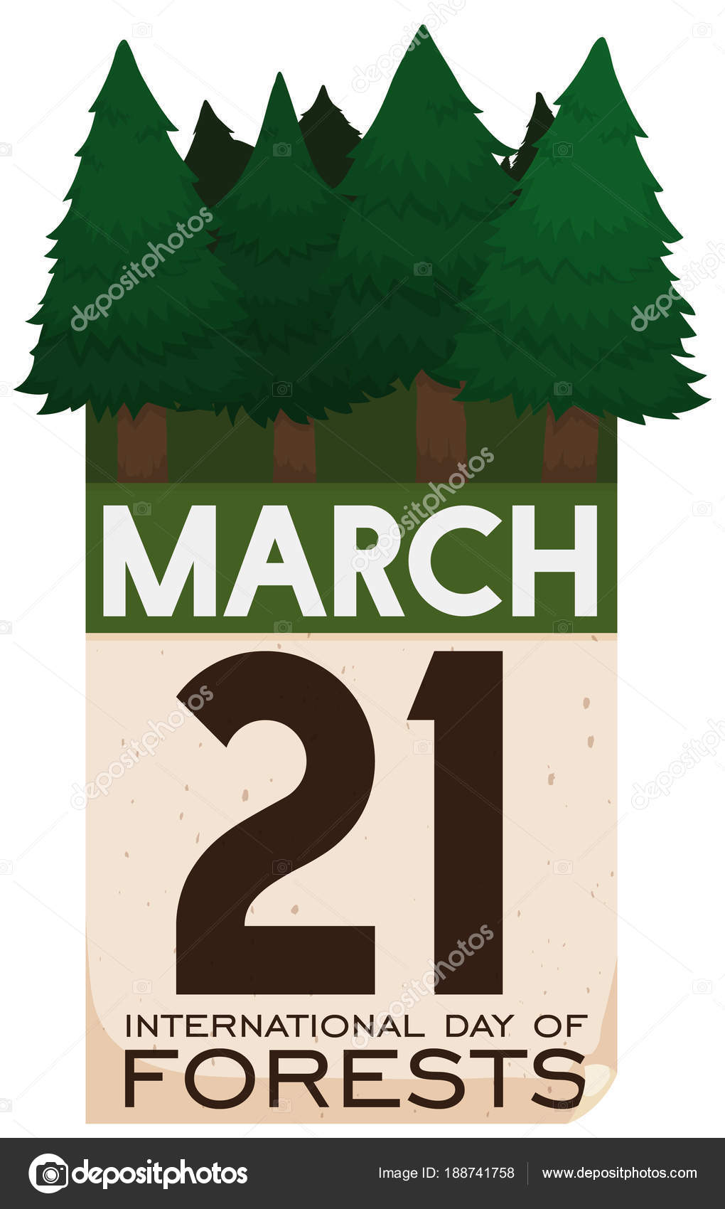 Loose-leaf Calendar and Pine Trees for International Day of