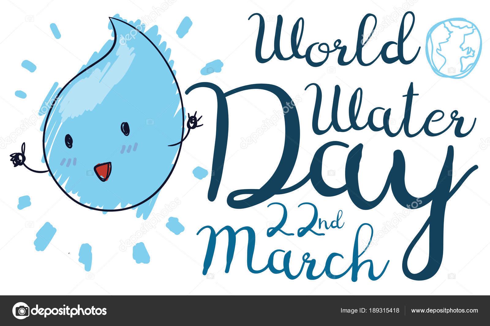 Linda Caída En Doodle Dibujo Para Celebración De Día Mundial Agua