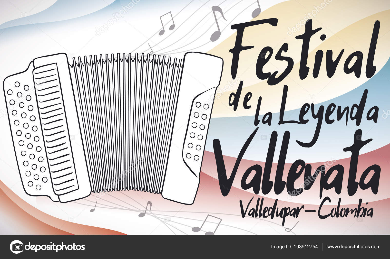 Accordion Playing Music with Colombian Colors for Vallenato Legend