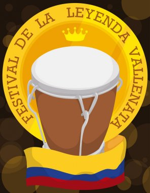 Medal with Crown, Drum and Flag for Vallenato Legend Festival, Vector Illustration