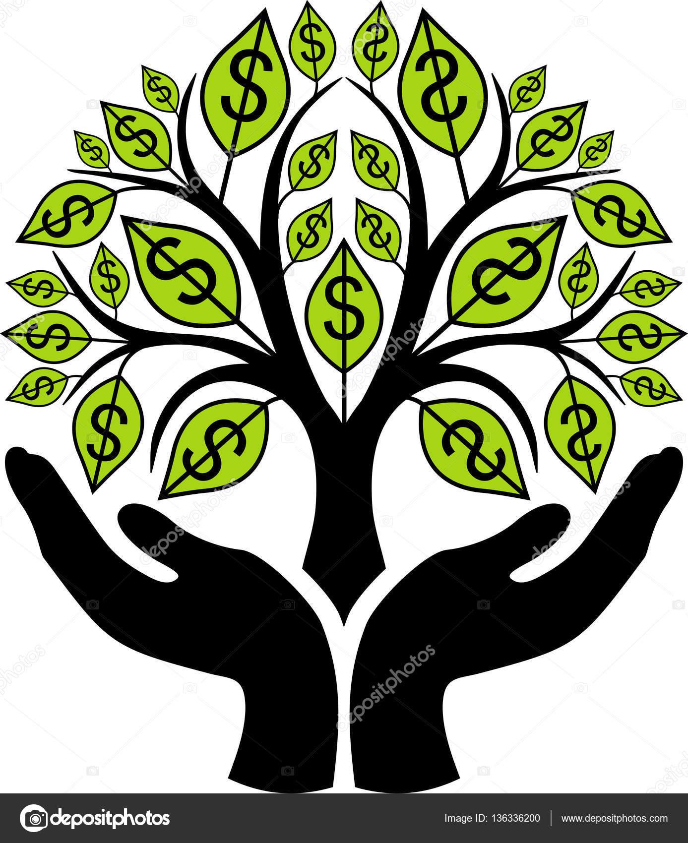 money tree in hands stock vector pingwinwinner 136336200 rh depositphotos com Animated Money Clip Art Funny Money Clip Art