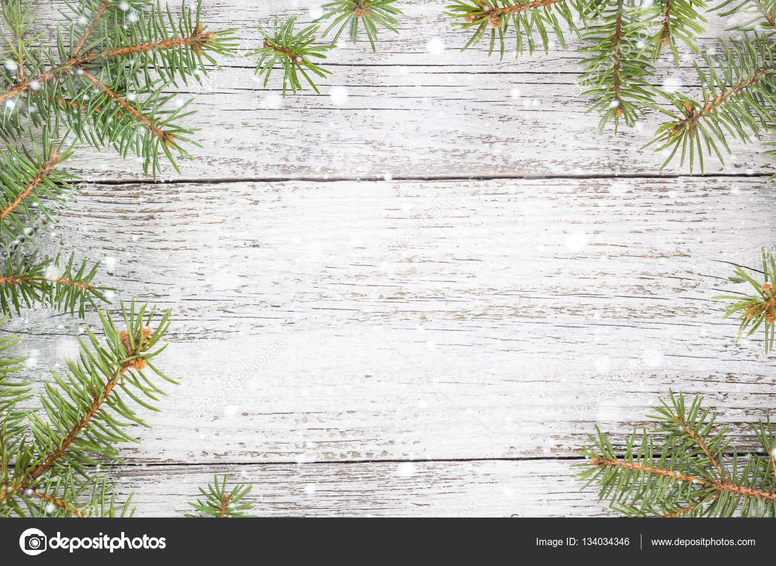 Christmas wooden background with fir tree  Top view copy space