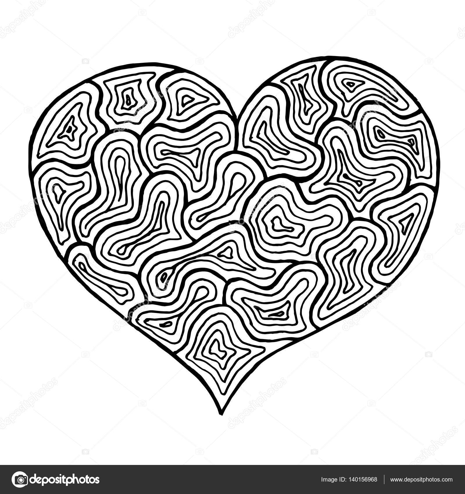 Valentines Day Heart Zentangle Black And White Symbol Vector Illustration For Web Design Trendy Printed Products Posters Invitations Greeting