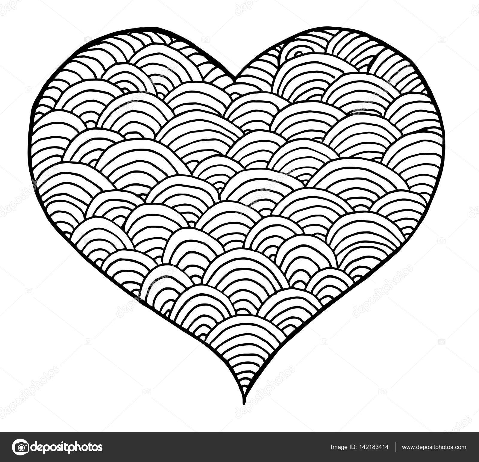 Corazon Blanco Y Negro Día De San Valentín Símbolo De Corazón