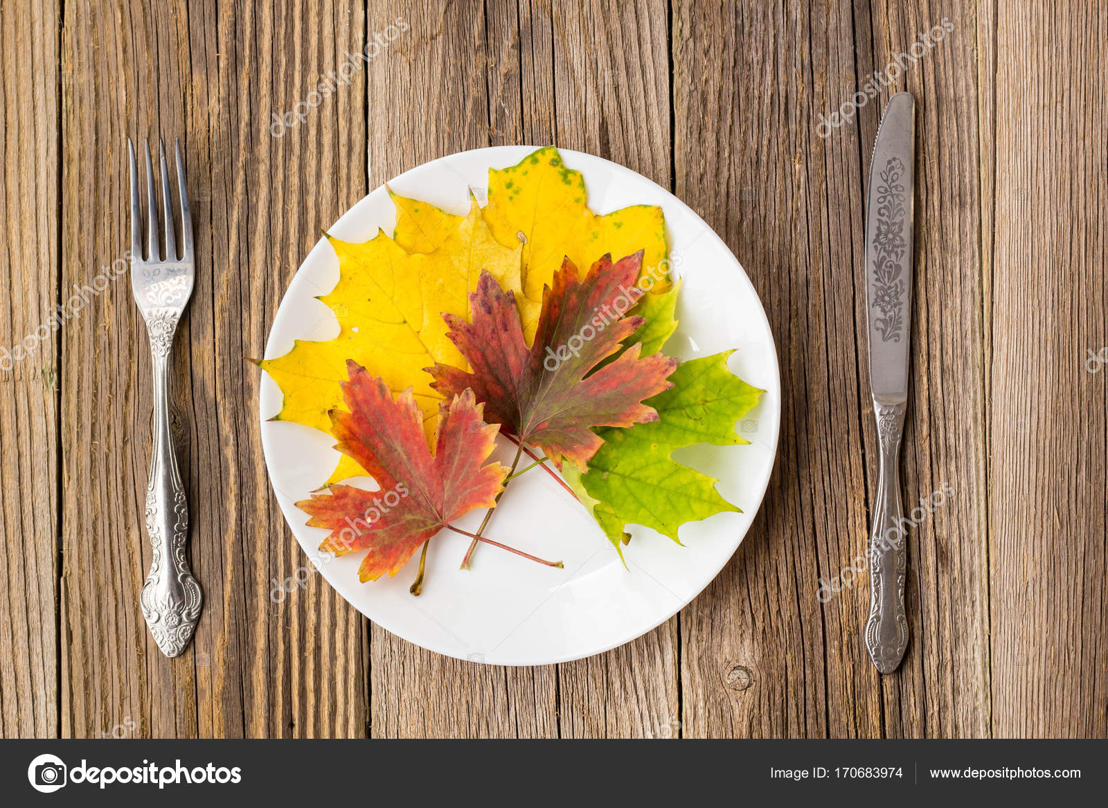 Thanksgiving Dinner Plate With Fork Knife And Leaves On Rustic Wooden Table Background Photo By Dashtik