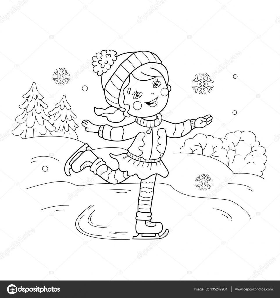 Coloring book for girl - Coloring Page Outline Of Cartoon Girl Skating Winter Sports Coloring Book For Kids