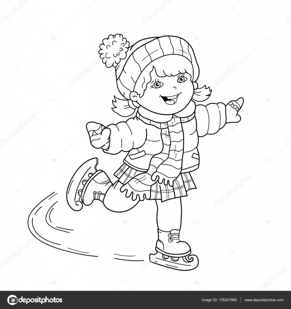coloring page outline of cartoon girl skating winter sports coloring book for kids stock illustration - Sports Coloring Book