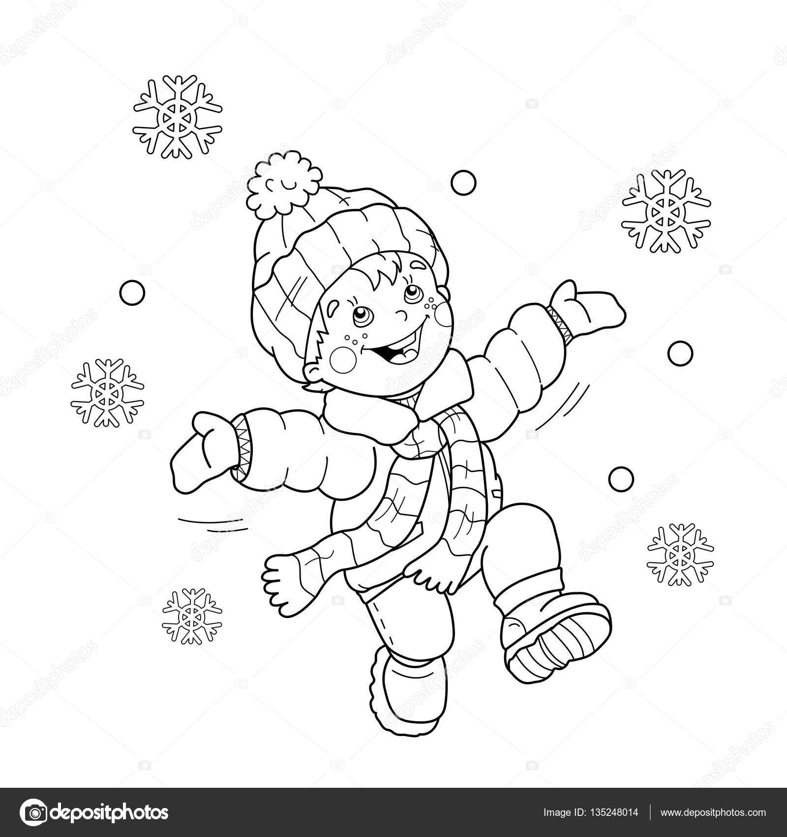 Sevinç Için Atlama Sayfa Anahat çizgi Film çocuk Boyama Ilk Kar