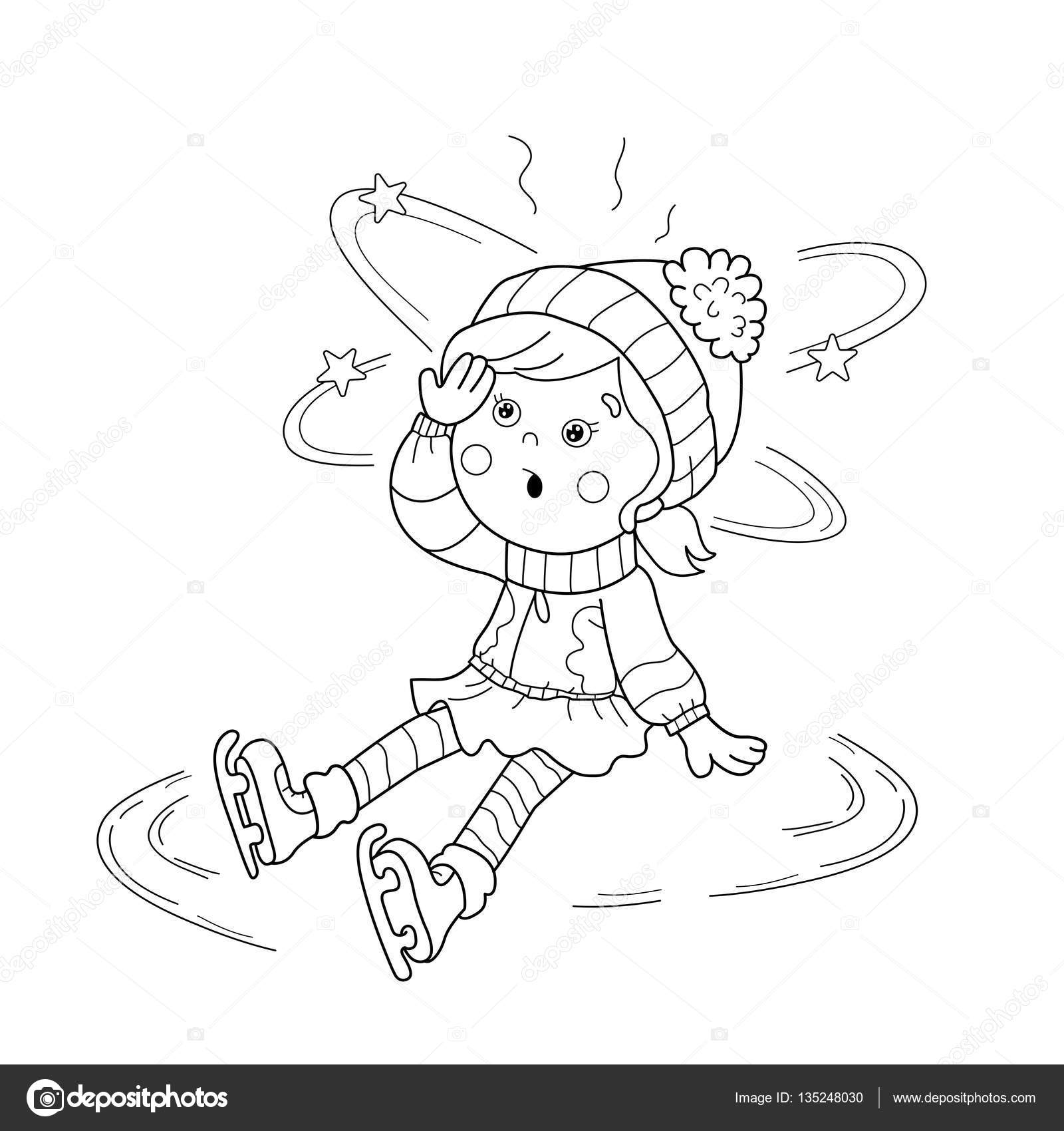 coloring page outline of cartoon girl skating winter sports sudden drop coloring book for kids stock illustration - Sports Coloring Book