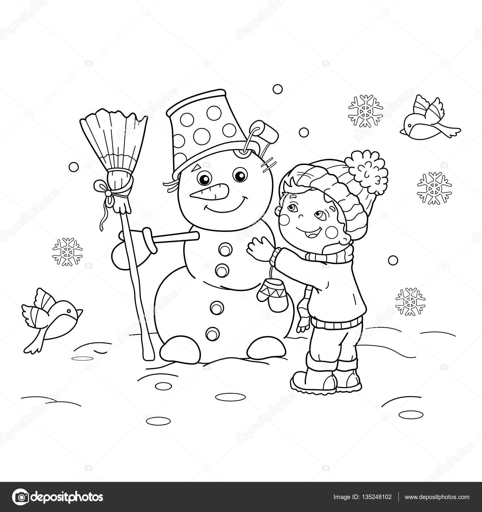 coloring page outline of cartoon boy with snowman winter