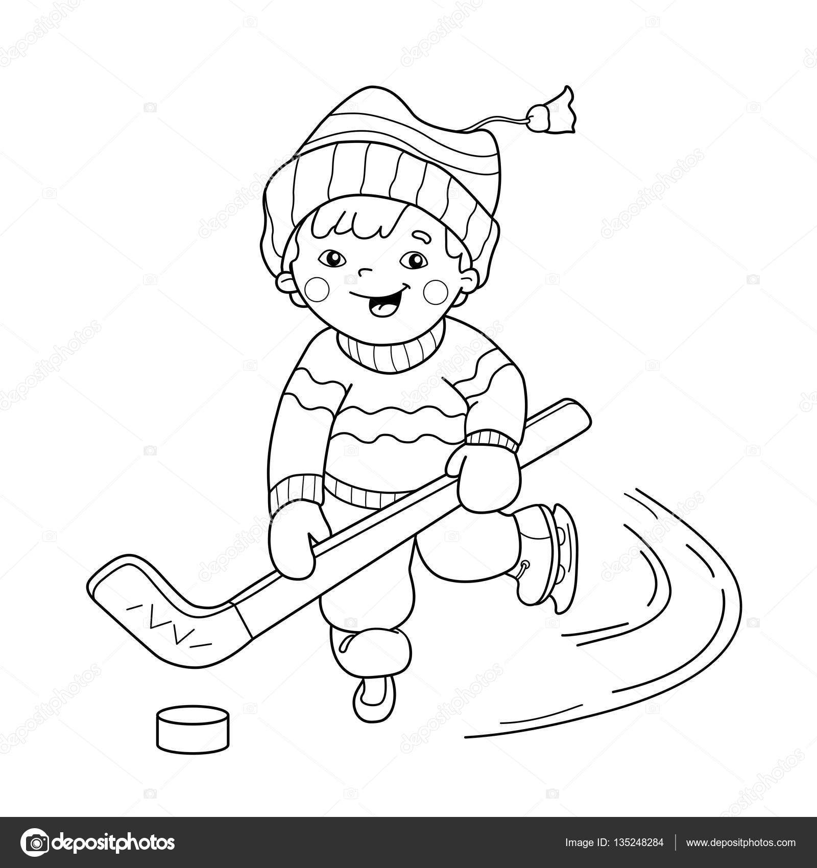 Coloring Page Outline cartoon boy playing hockey Winter sports