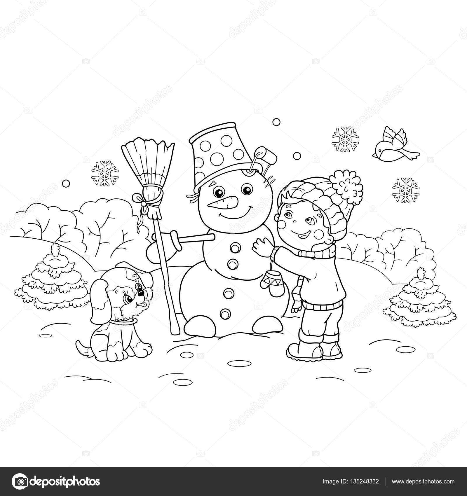 Coloring Page Outline Of cartoon boy making snowman with dog ...