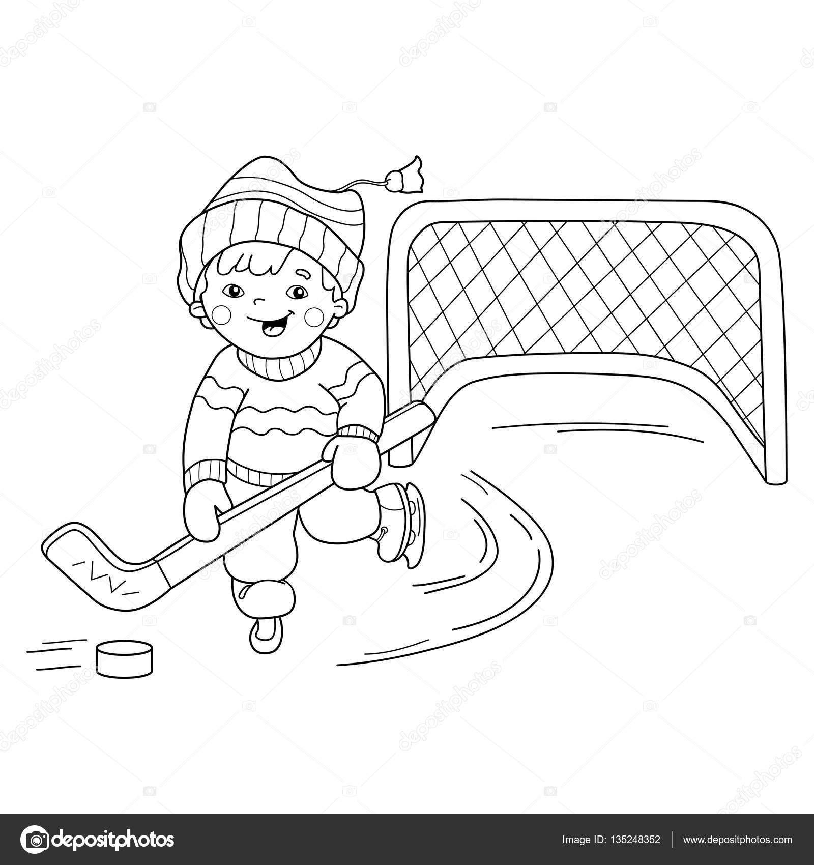 coloring page outline of cartoon boy playing hockey winter sports coloring book for kids stock illustration - Sports Coloring Book