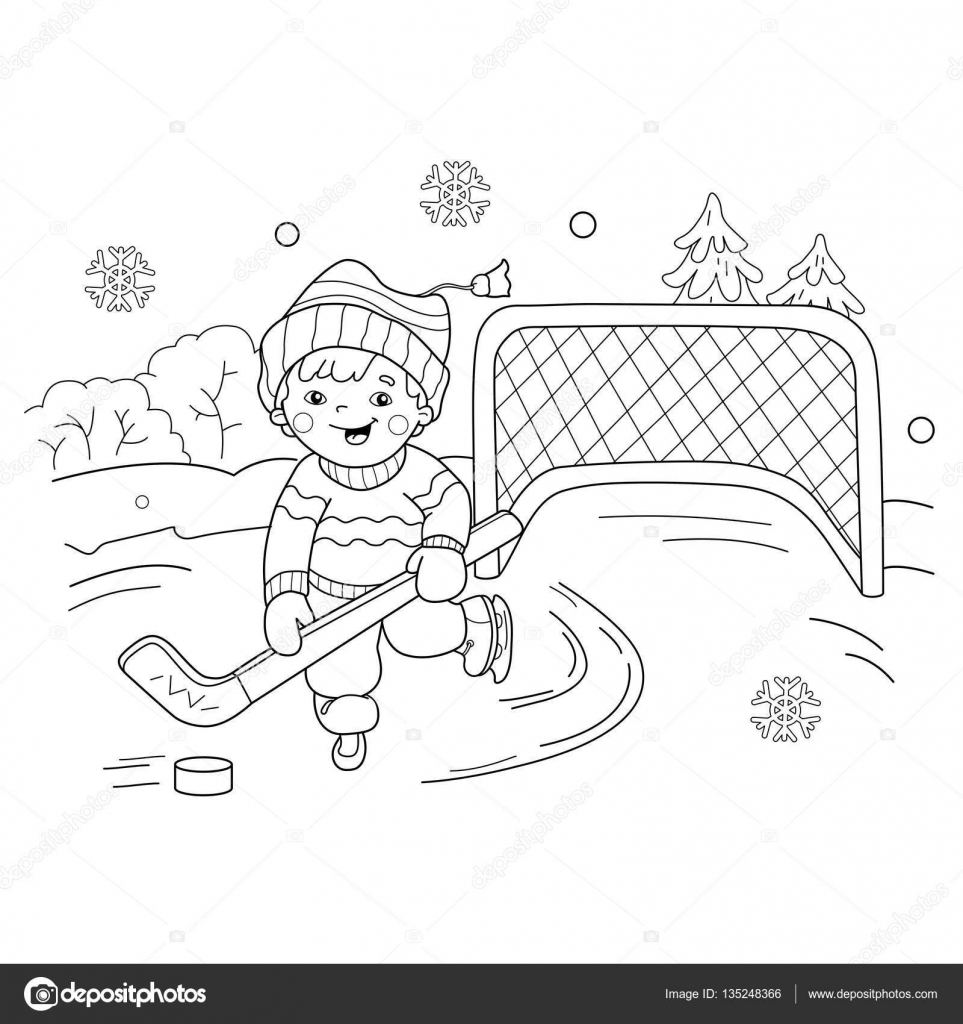coloring page outline of cartoon boy playing hockey winter sports playground coloring book for kids stock illustration - Sports Coloring Book