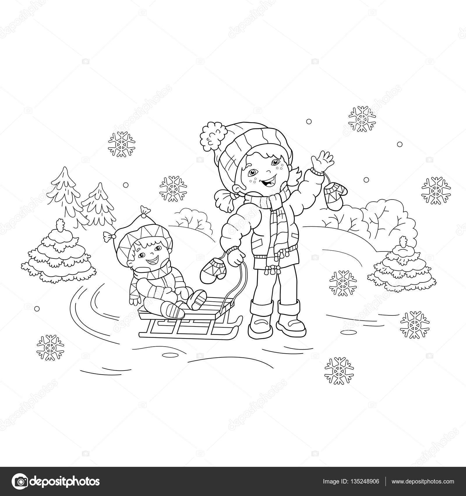 Para colorear esquema de página de dibujos animados chica con ...