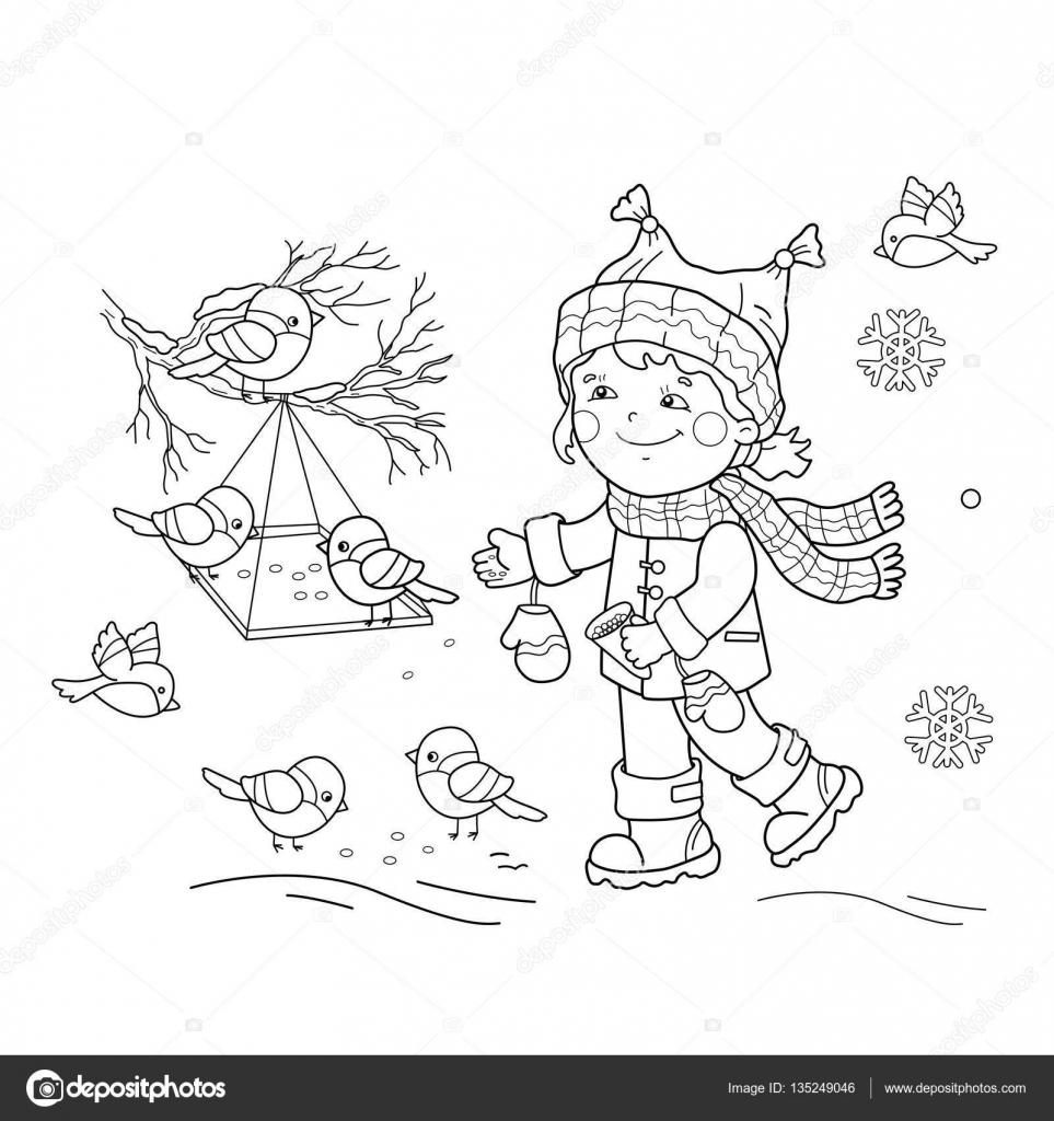 раскраска воробьи зимой картинки для детей птицы зимой