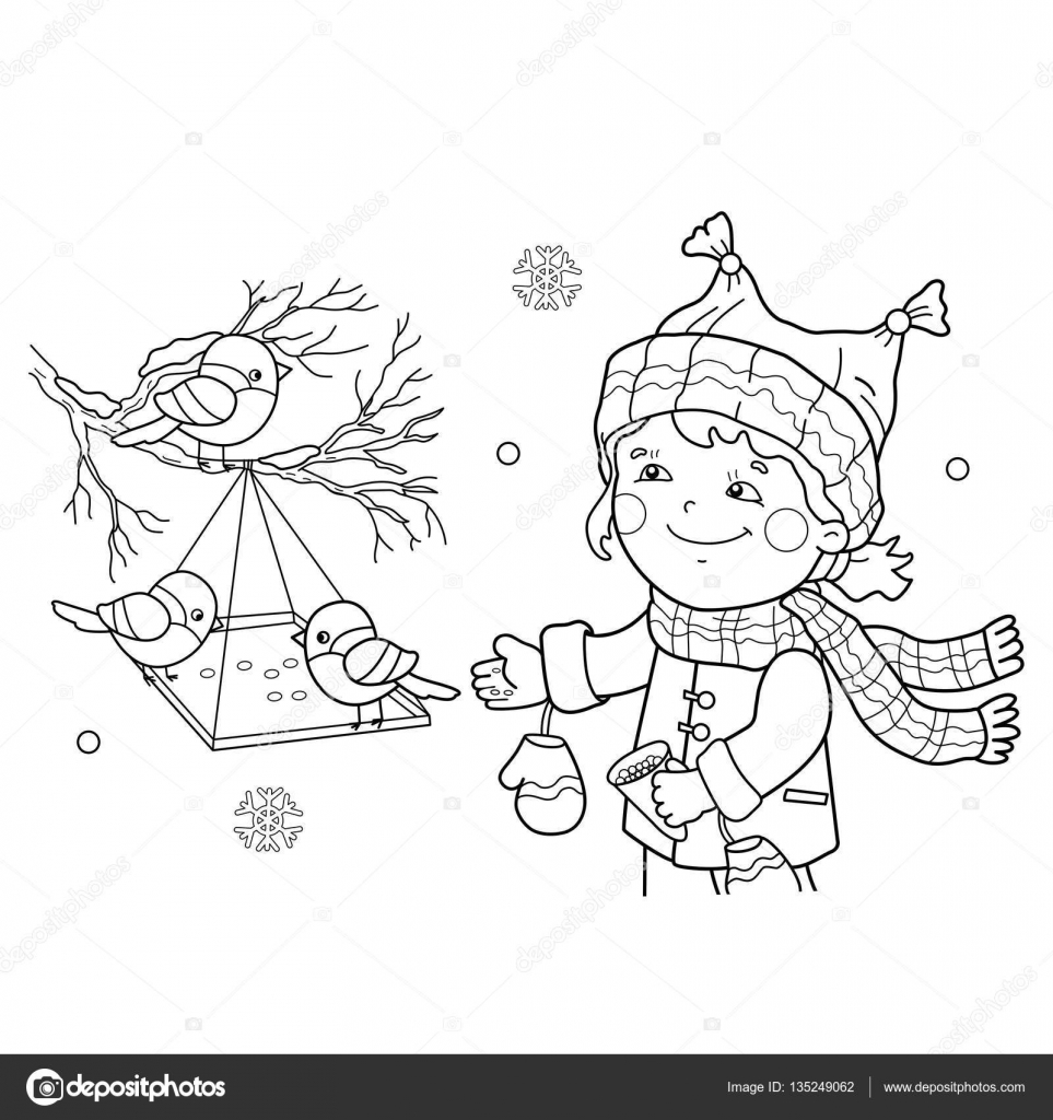 Coloring Page Outline Of cartoon girl feeding birds. Bird feeder. Winter.  Coloring book for kids 9