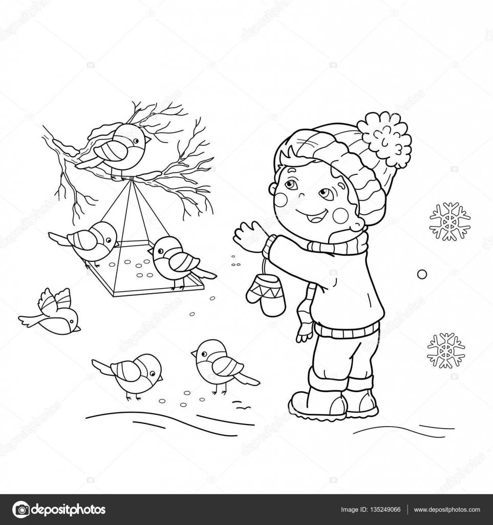 Kleurplaten Vogels In De Winter.Kleurplaat Pagina Overzicht Van Cartoon Jongen Voeden Vogels