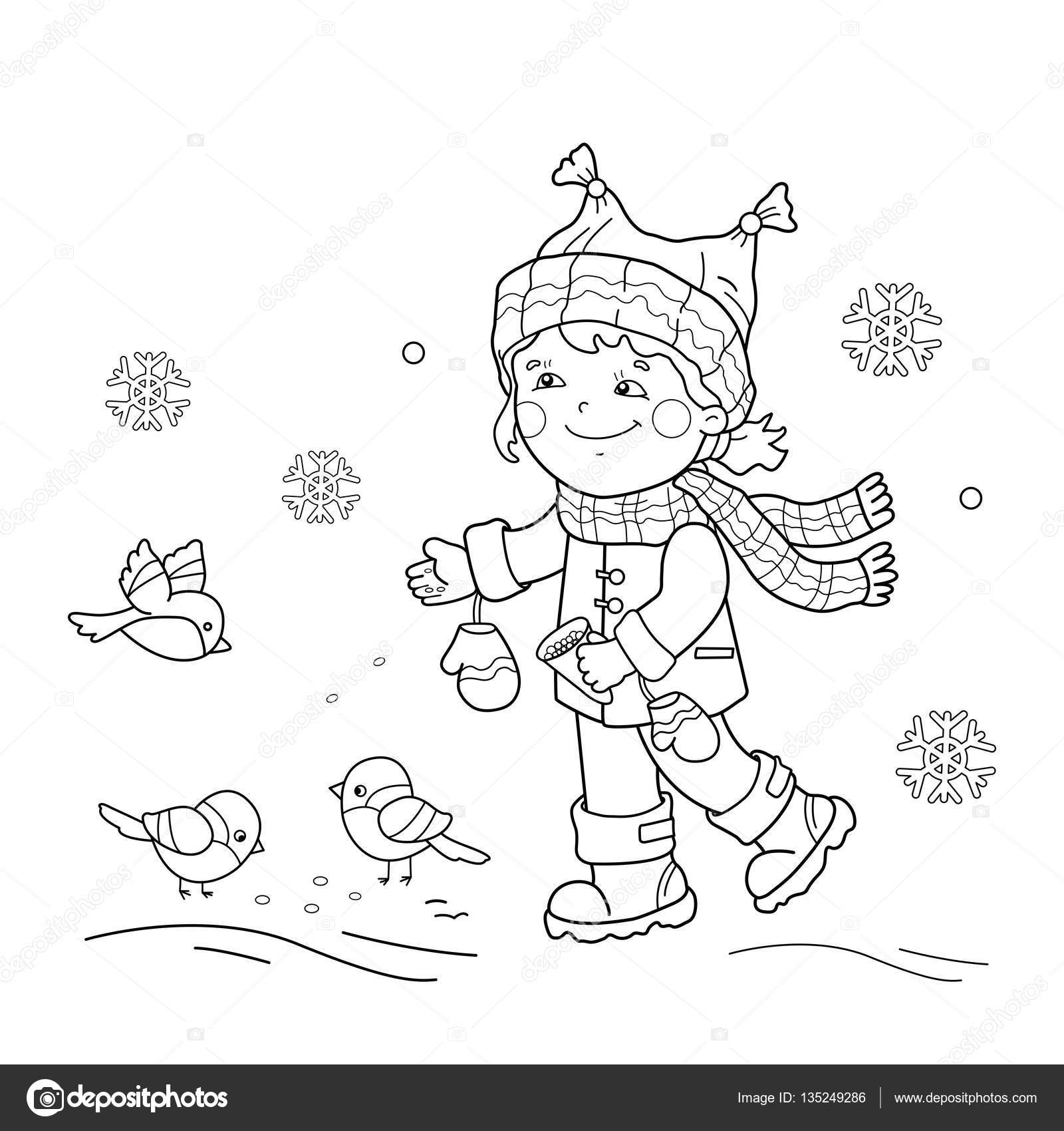 Colorear contorno de la página de dibujos animados aves alimentación ...