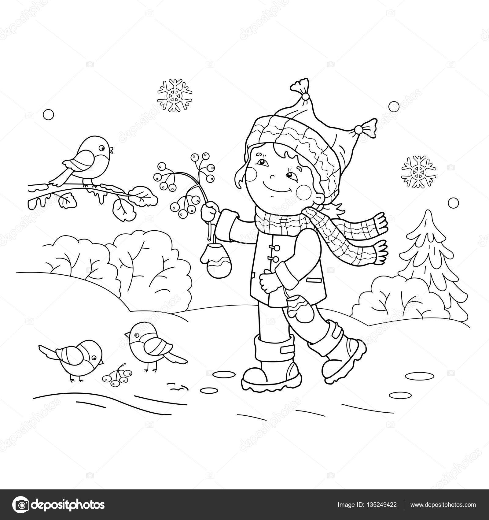 Coloring Page Outline Of cartoon girl feeding birds. Winter ...