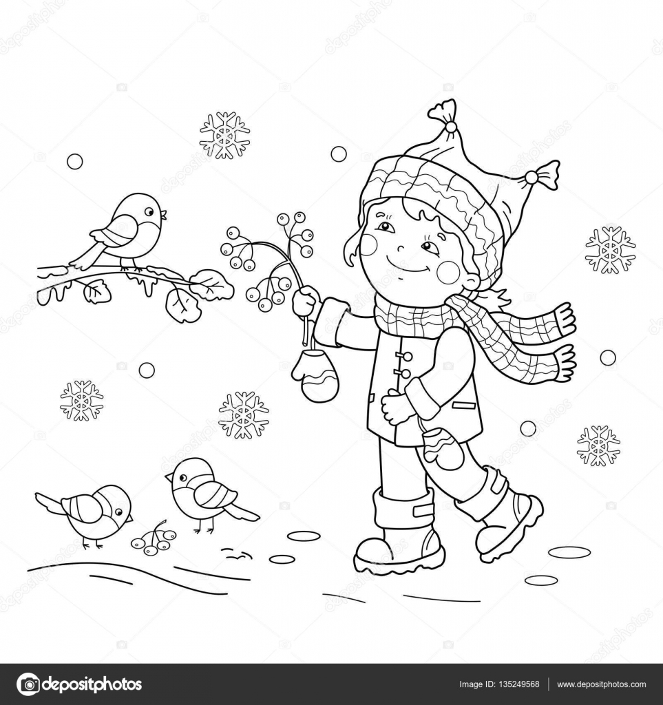 Coloring Page Outline Of Cartoon Girl Feeding Birds Winter