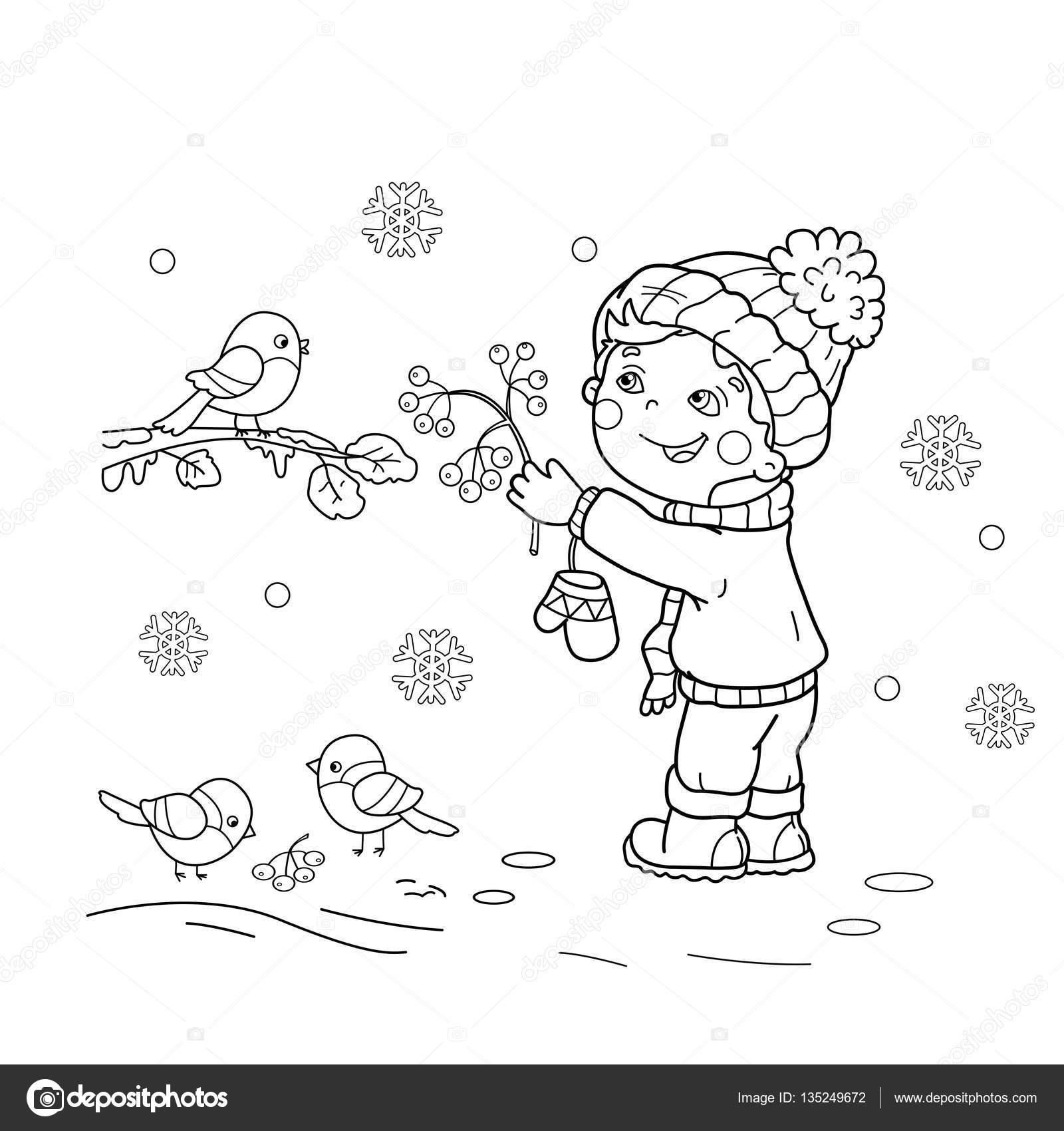 Kleurplaat Pagina Overzicht Van Cartoon Jongen Voeden Vogels Winter
