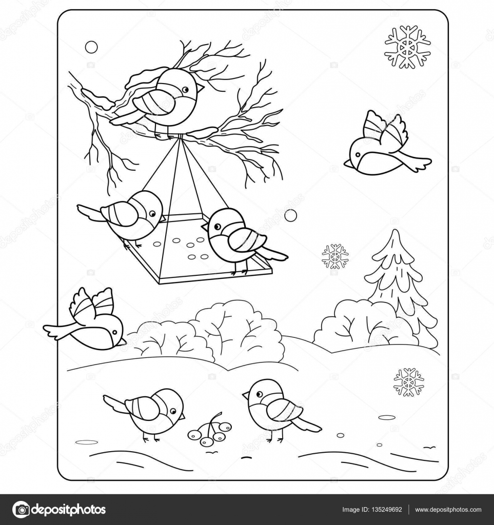 Coloring Page Outline Of cartoon birds in the winter. Bird feeder.  Bullfinch, titmouse, sparrows. Coloring book for kids 9