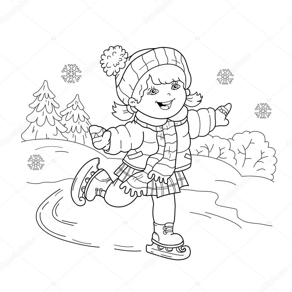 Para Colorear Esquema De Página De Dibujos Animados Chica