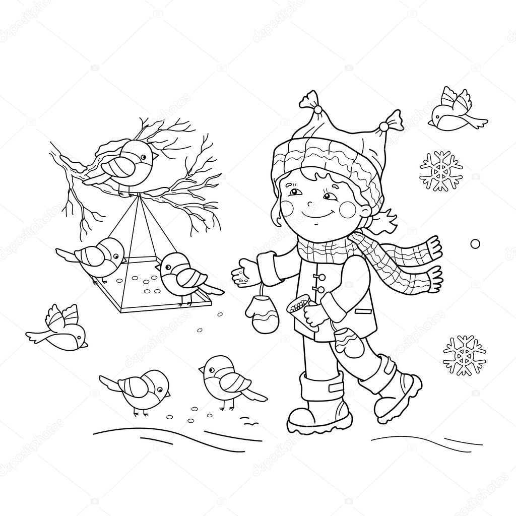 Coloring Page Outline Of cartoon girl feeding birds. Bird feeder. Winter. Coloring book for kids