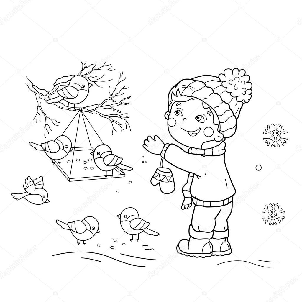 Coloring Page Outline Of cartoon boy feeding birds. Bird feeder. Winter. Coloring book for kids