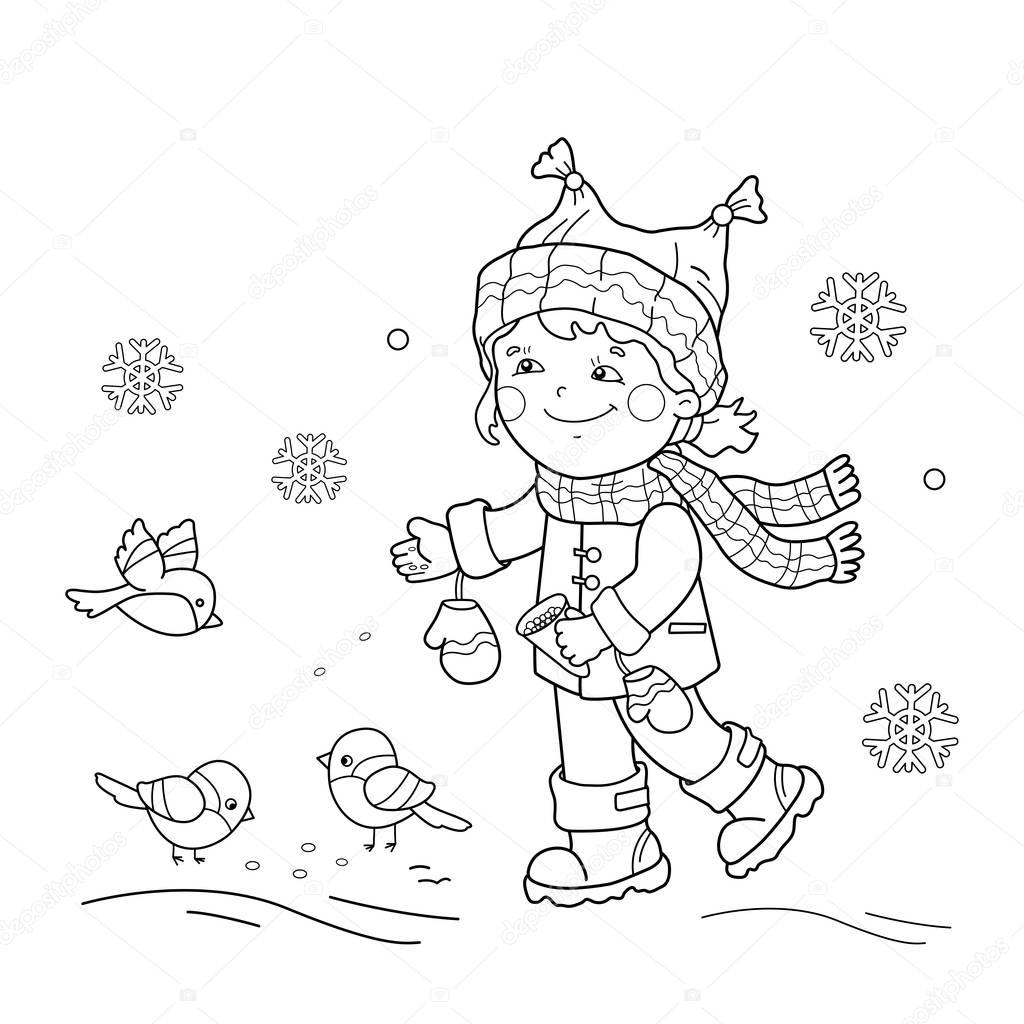 Coloring Page Outline Of cartoon girl feeding birds. Winter. Coloring book for kids