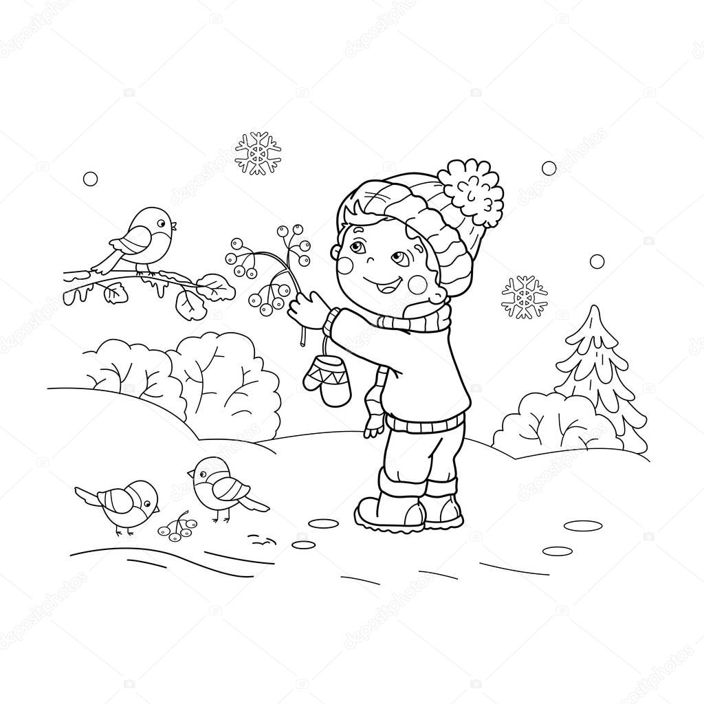 Coloring Page Outline Of cartoon boy feeding birds. Winter. Coloring book for kids