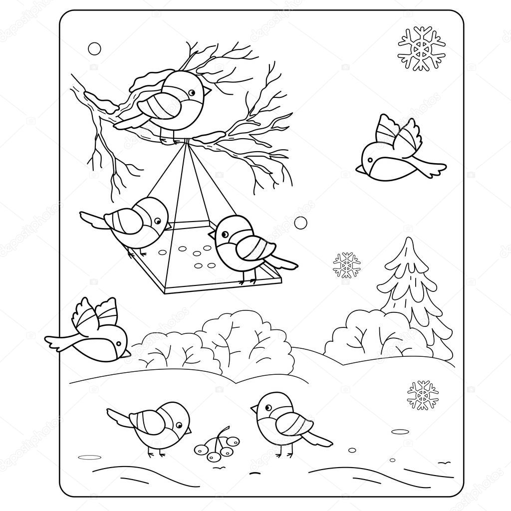 Coloring Page Outline Of cartoon birds in the winter. Bird feeder. Bullfinch, titmouse, sparrows. Coloring book for kids