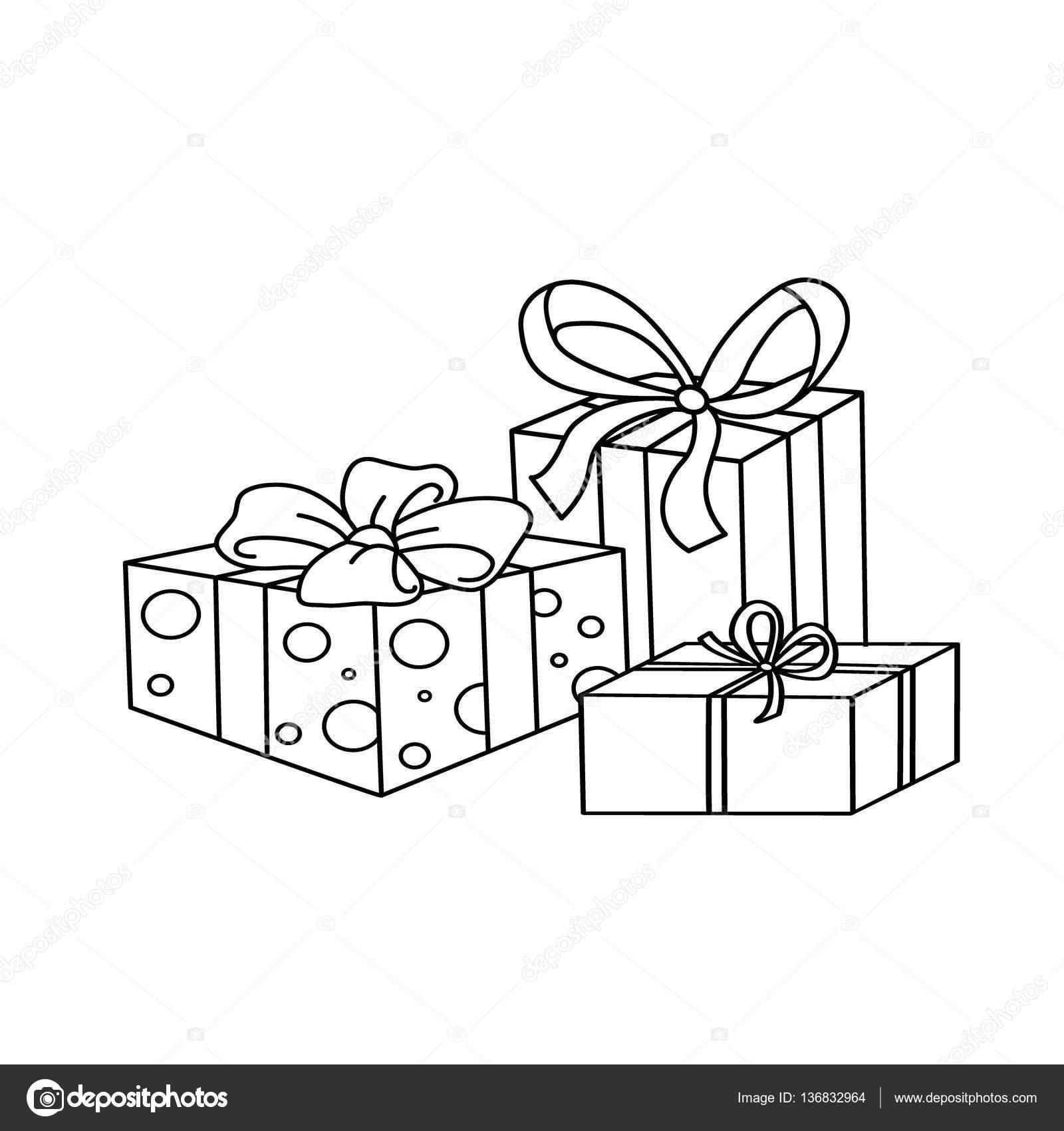 Colorear contorno de la página de dibujos animados regalos de ...