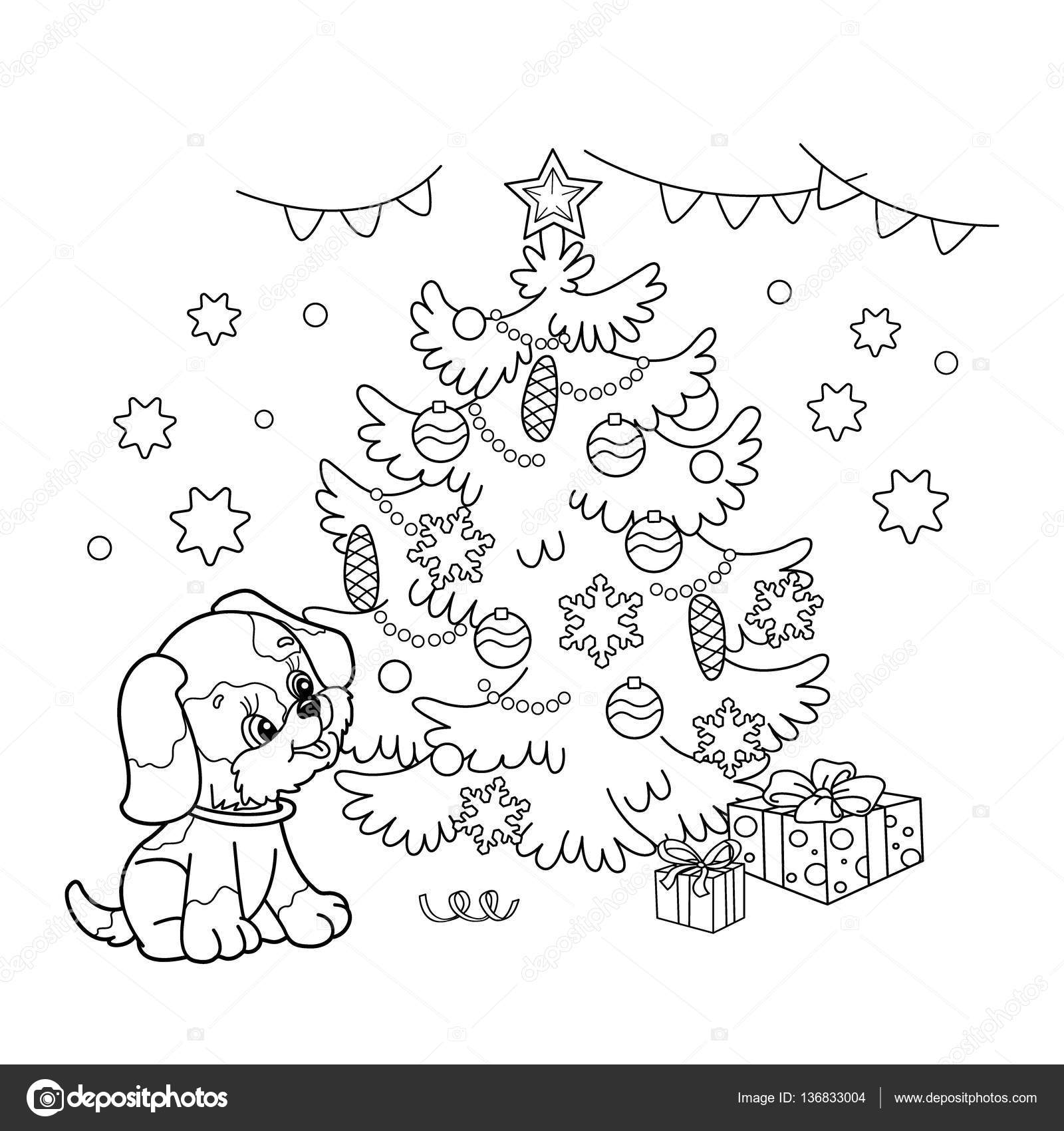 coloring page outline of christmas tree with ornaments and gifts with puppy the year of