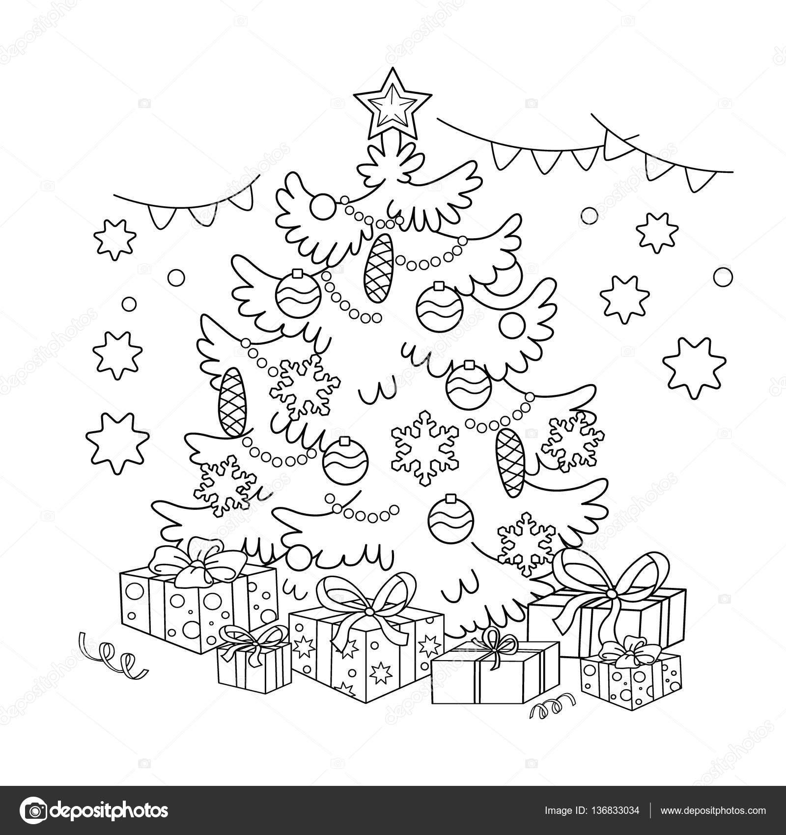 Sayfa Anahat Karikatür Noel Ağacı Süsler Ve Hediyeler Ile Boyama