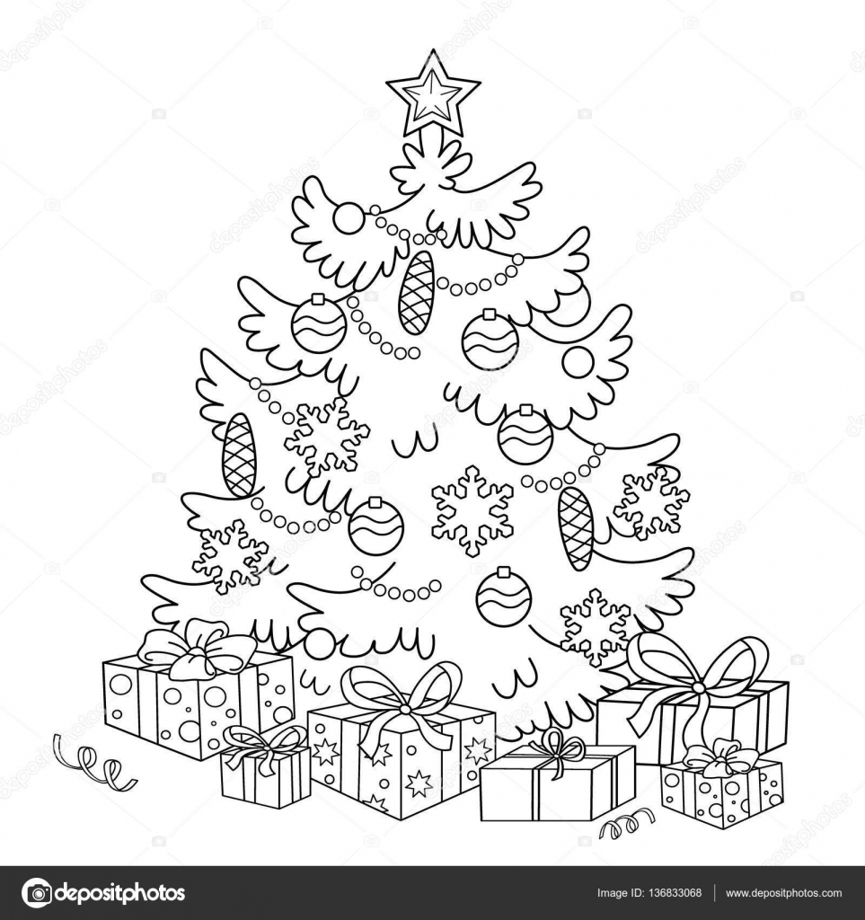 Coloring Page Outline Of cartoon Christmas tree with ornaments and ...