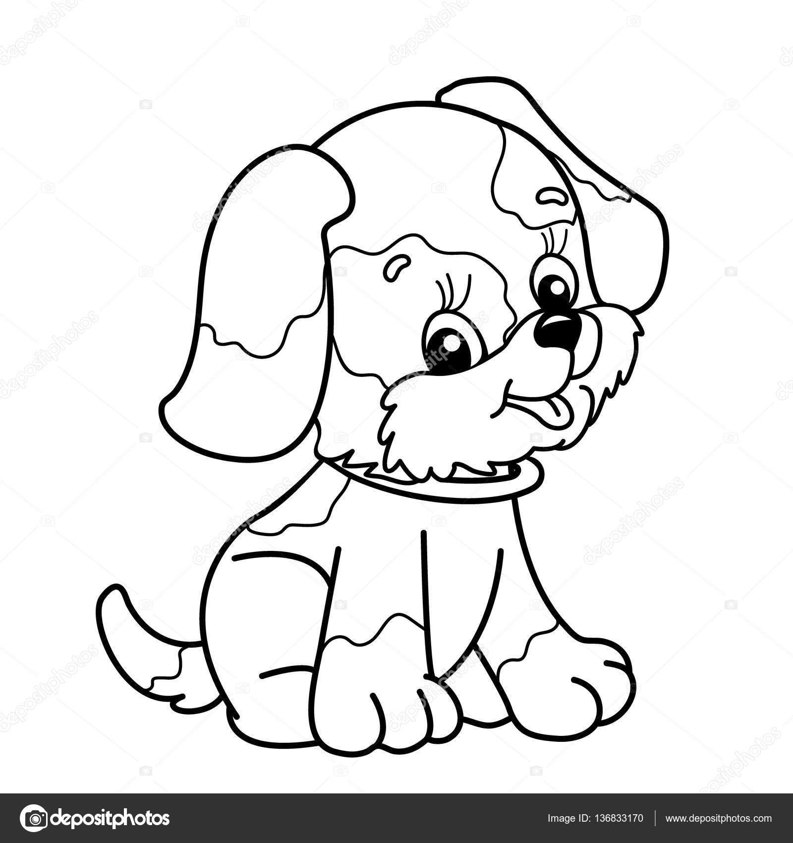 Sayfa Anahat In Karikatür Köpek Boyama Sevimli Köpek Oturuyor