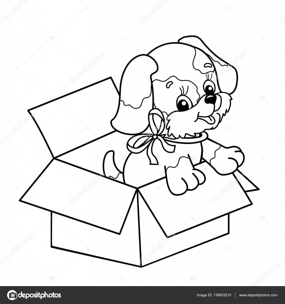 coloring page outline of cute puppy in box cartoon dog with bow gift for