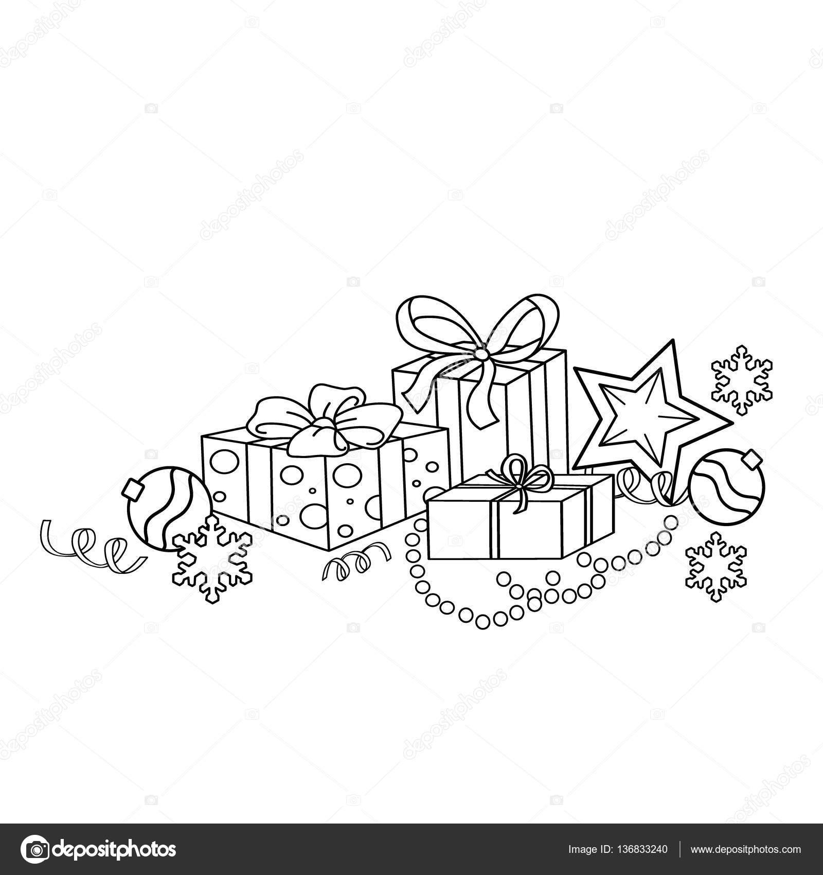 漫画ページ概要のクリスマスの飾りやプレゼントを着色しますクリスマス