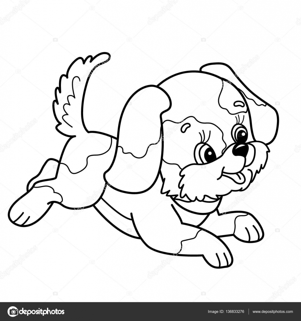 coloring page outline of cute puppy cartoon joyful dog jumping pets coloring book