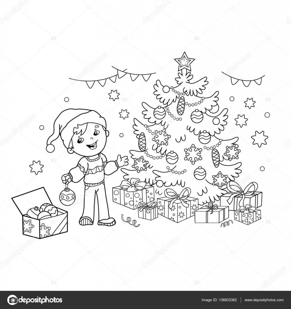 Para colorear esquema de página de dibujos animados niño decorando ...