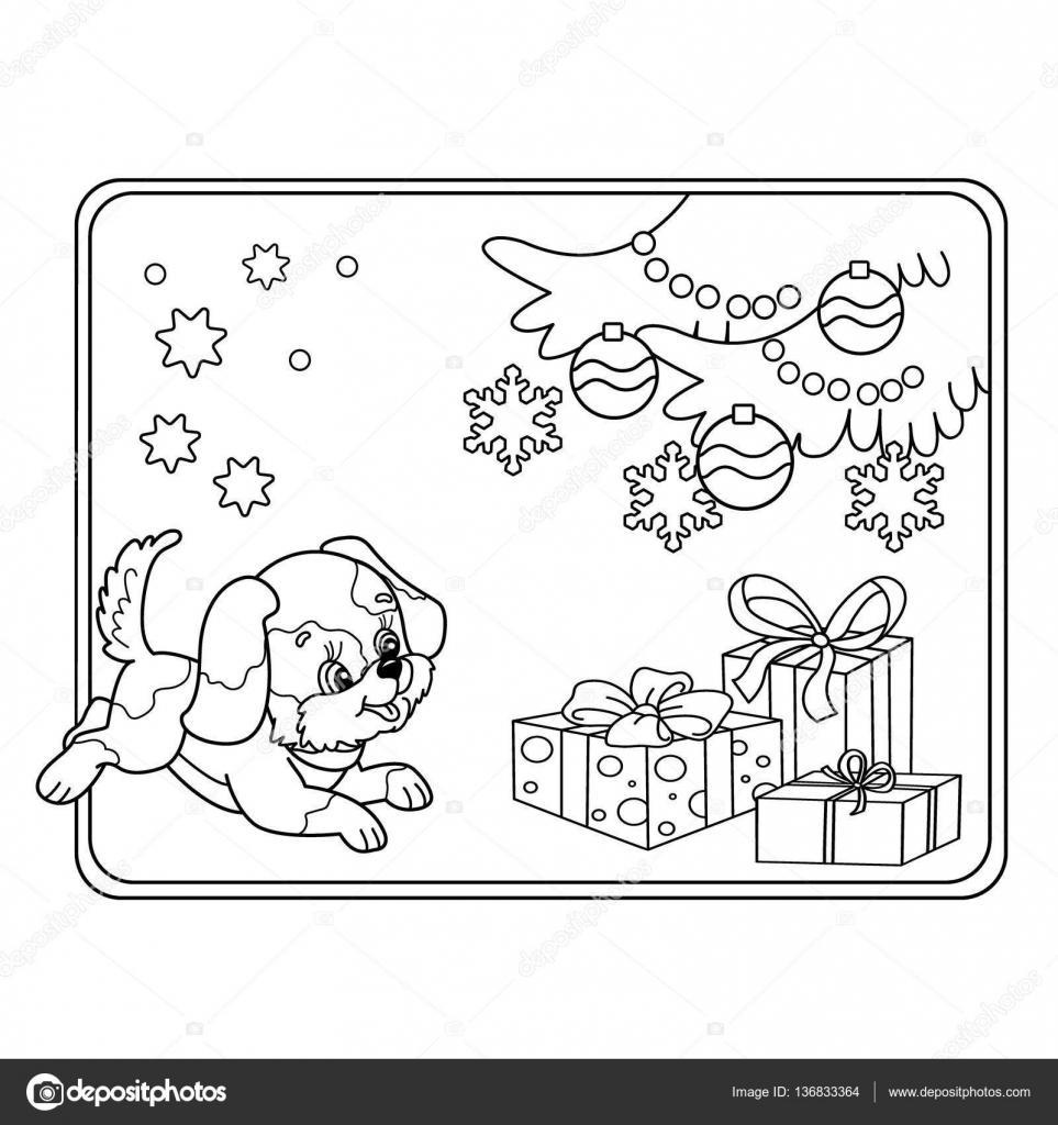Boyama Sayfa Anahat Yılbaşı Ağacı Süsleri Ve Hediyeleri Ile Köpek